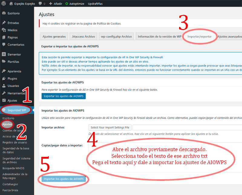 Paso a paso de cómo importar los ajustes de all in one WP security & Firewall